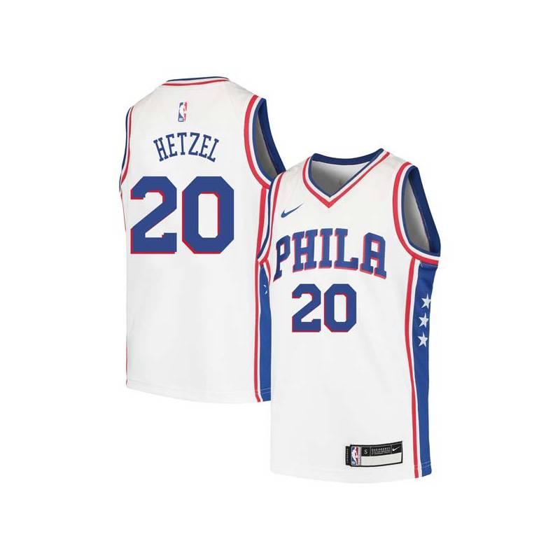 Fred Hetzel Twill Basketball Jersey -76ers #20 Hetzel Twill Jerseys, FREE SHIPPING