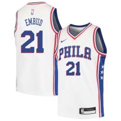 Joel Embiid Twill Basketball Jersey -76ers #21 Embiid Twill Jerseys, FREE SHIPPING