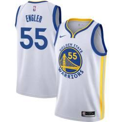 Chris Engler Twill Basketball Jersey -Warriors #55 Engler Twill Jerseys, FREE SHIPPING