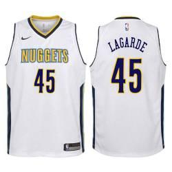 Nuggets #45 Tom LaGarde| Jawann Oldham| Tim Kempton| Anthony Cook| Gary Plummer| Raef LaFrentz| Steven Hunter Twill Basketball J