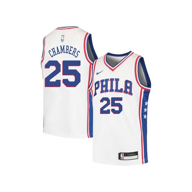 Tom Chambers Twill Basketball Jersey -76ers #25 Chambers Twill Jerseys, FREE SHIPPING