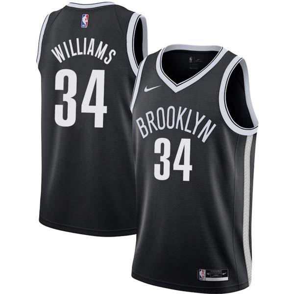 Brooklyn 34 Aaron Williams Nets Twill Basketball Jersey Free ...