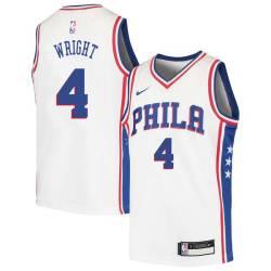 Sharone Wright Twill Basketball Jersey -76ers #4 Wright Twill Jerseys, FREE SHIPPING