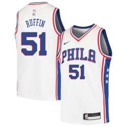Michael Ruffin Twill Basketball Jersey -76ers #51 Ruffin Twill Jerseys, FREE SHIPPING