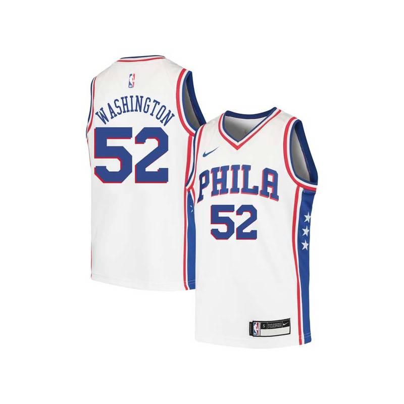 Wilson Washington Twill Basketball Jersey -76ers #52 Washington Twill Jerseys, FREE SHIPPING