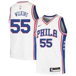 Eddie Lee Wilkins Twill Basketball Jersey -76ers #55 Wilkins Twill Jerseys, FREE SHIPPING
