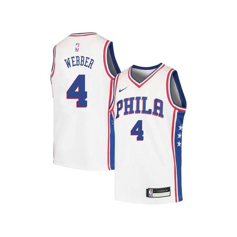 Chris Webber Twill Basketball Jersey -76ers #4 Webber Twill Jerseys, FREE SHIPPING