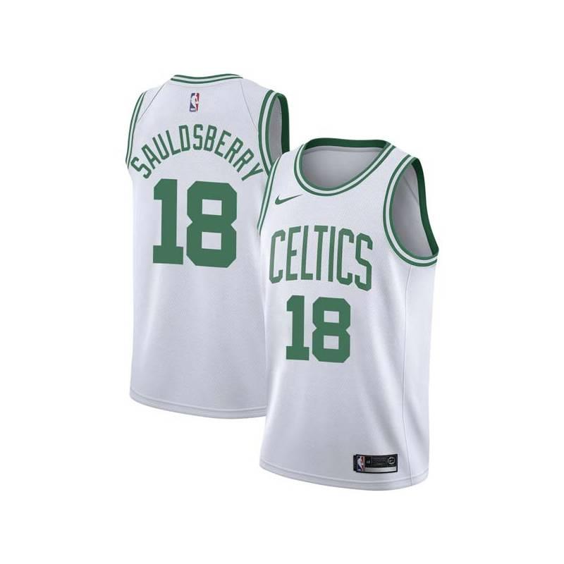 Woody Sauldsberry Twill Basketball Jersey -Celtics #18 Sauldsberry Twill Jerseys, FREE SHIPPING
