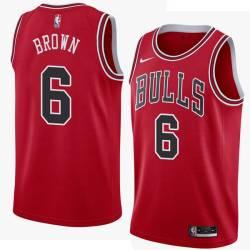 Shannon Brown Twill Basketball Jersey -Bulls #6 Brown Twill Jerseys, FREE SHIPPING