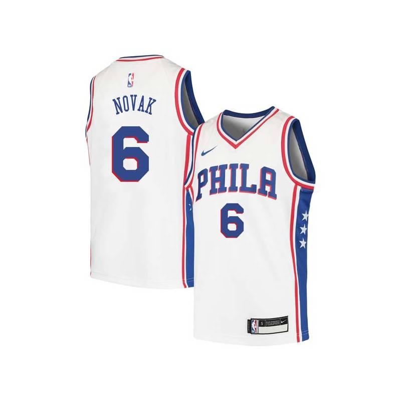 Mike Novak Twill Basketball Jersey -76ers #6 Novak Twill Jerseys, FREE SHIPPING