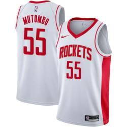 Dikembe Mutombo Twill Basketball Jersey -Rockets #55 Mutombo Twill Jerseys, FREE SHIPPING