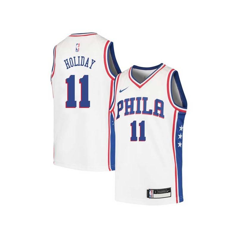 Jrue Holiday Twill Basketball Jersey -76ers #11 Holiday Twill Jerseys, FREE SHIPPING