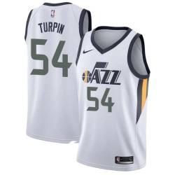 Melvin Turpin Twill Basketball Jersey -Jazz #54 Turpin Twill Jerseys, FREE SHIPPING