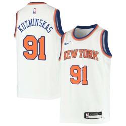 Mindaugas Kuzminskas Twill Basketball Jersey -Knicks #91 Kuzminskas Twill Jerseys, FREE SHIPPING