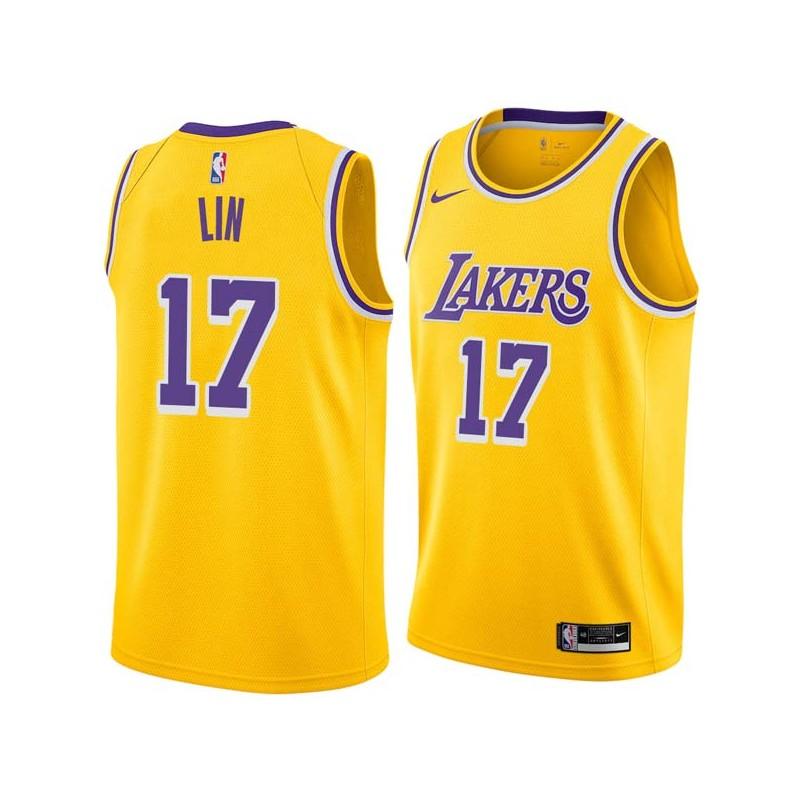 Jeremy Lin Lakers #17 Twill Jerseys free shipping