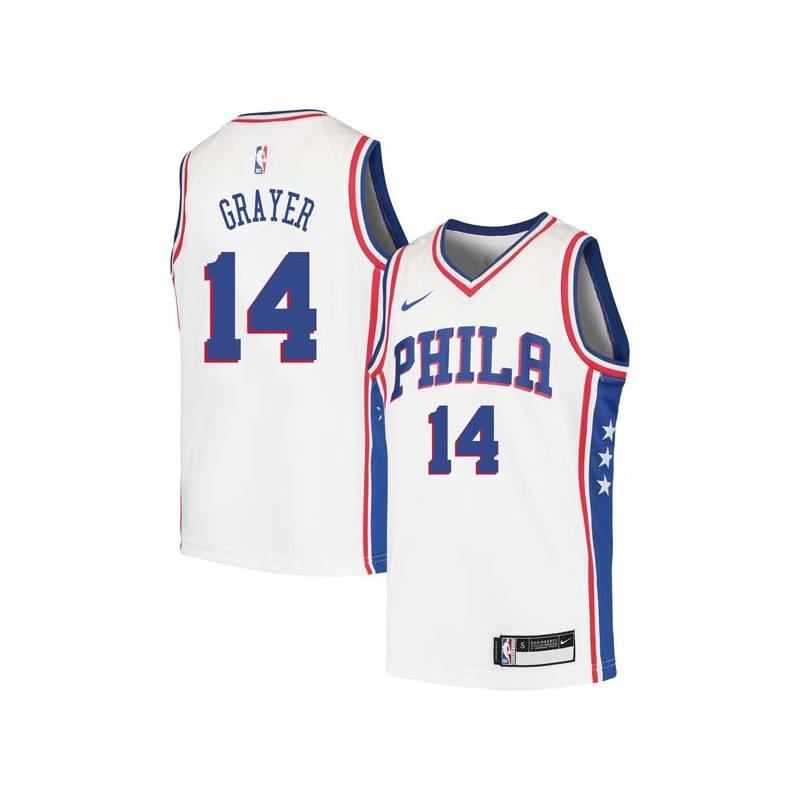 Jeff Grayer Twill Basketball Jersey -76ers #14 Grayer Twill Jerseys, FREE SHIPPING