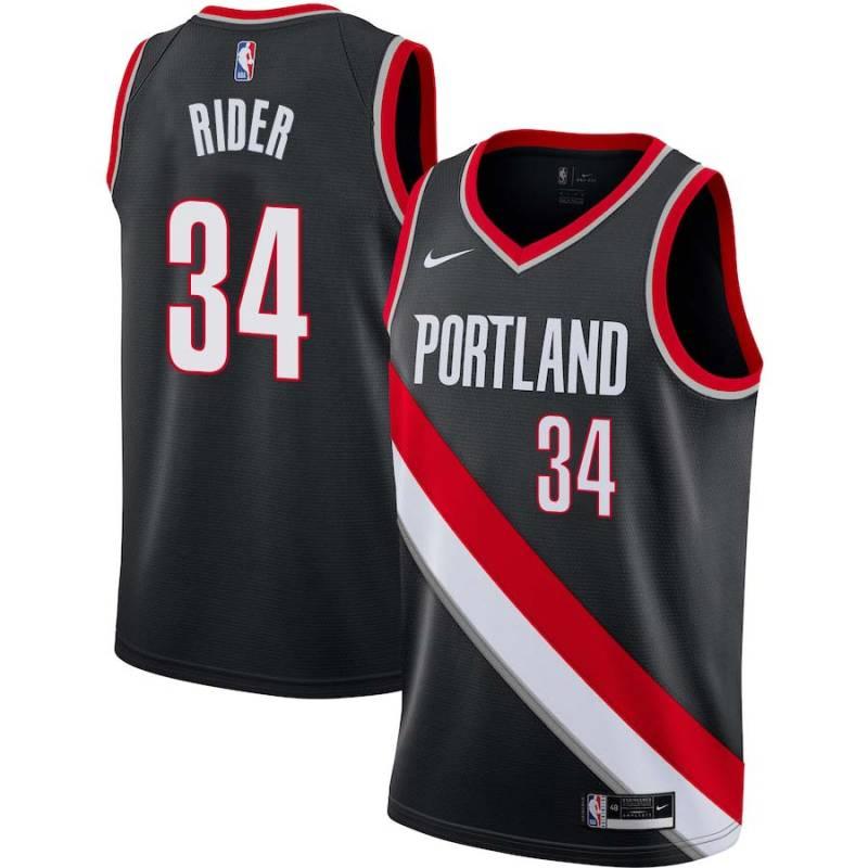 Isaiah Rider Trail Blazers #34 Twill Jerseys free shipping