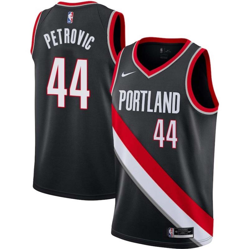 Drazen Petrovic Twill Basketball Jersey -Trail Blazers #44 Petrovic Twill Jerseys, FREE SHIPPING